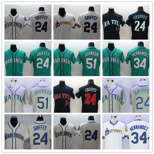 b7b02b88054 Seattle Mariners jersey 24 Ken Griffey Jr jersey 34 Felix Hernandez 51  Randy Johnson 22 Robinson Cano 15 Kyle Seager Baseball