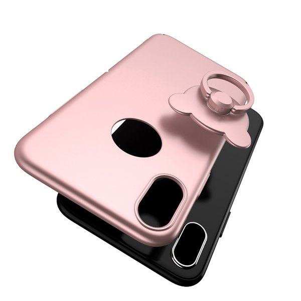 Phone Case for Iphone X 5.8'' inch Teddy Bear Back Cover Ultra Thin with Holder Ring 5 Colors with/without Circle Hole high quality