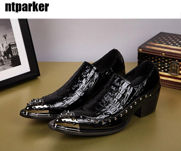 British Style Man Dress Shoes pointed steel-toed shoes fashion Rock hairdresser leather shoes Black Party/Wedding!