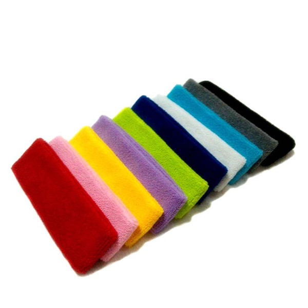 Wholesale-Solid Colors Hair Headband Men Women Basketball Cloth Towel Sweat Headband Yoga Hair Band Protect Wash Headbands Fitness Towels
