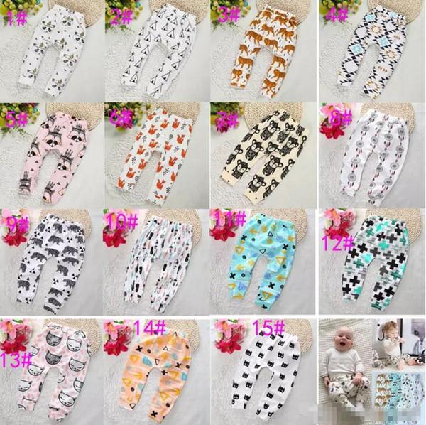 15 Design crianças INS pp calças moda bebê crianças menino da menina do guaxinim panda tenda rodas figura geométrica calças calças Leggings A08