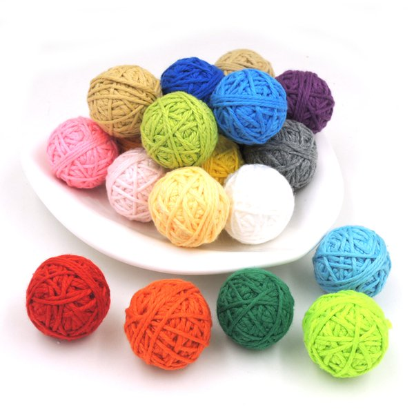 DIY Chunky cotton crochet balls,20 colors, statement necklace beads,knitted bead handmade XMAS decoration 100 PCS pattern EA55