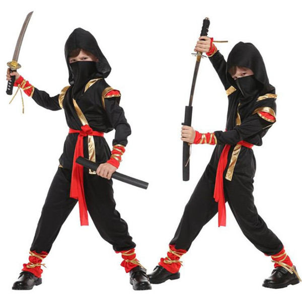 Halloween Kids Boy Black Gold Ninja Cosplay Costume Children Stage  Performance Costumes Masquerade Carnival Party Supplies Group Costumes For  2 5