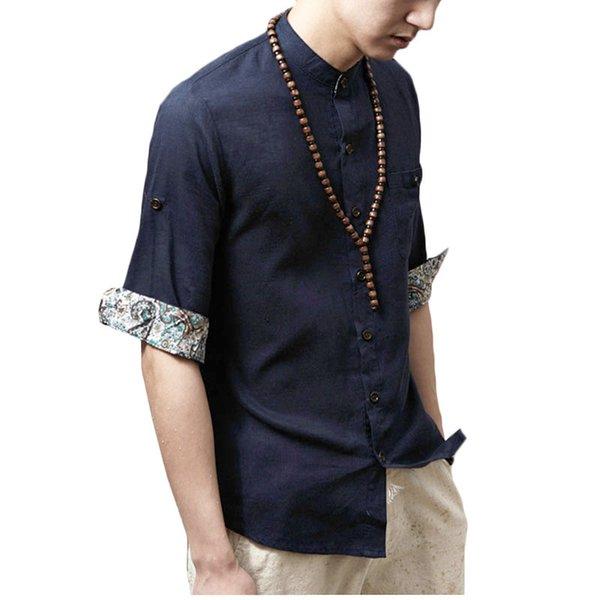 Compre Al Por Mayor Camisas Japonesas Para Hombres De Algodón De Diseño De Media Manga De Flores Mandarin Collar Camisas Sociales Ocasionales De Hawai