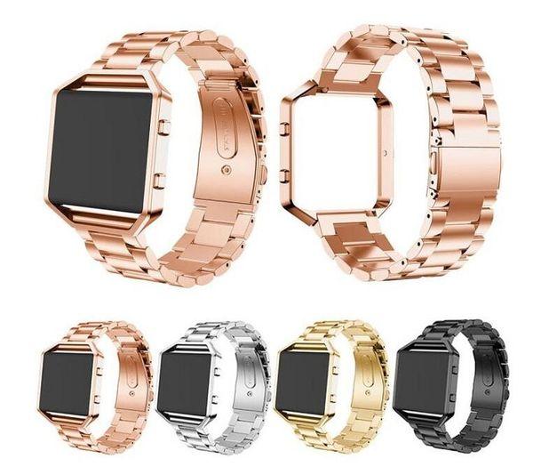 Überlegene Mode Edelstahl WatchBand Band Strap + Metallrahmen für Fitbit Blaze Activity Tracker Uhrenarmbänder