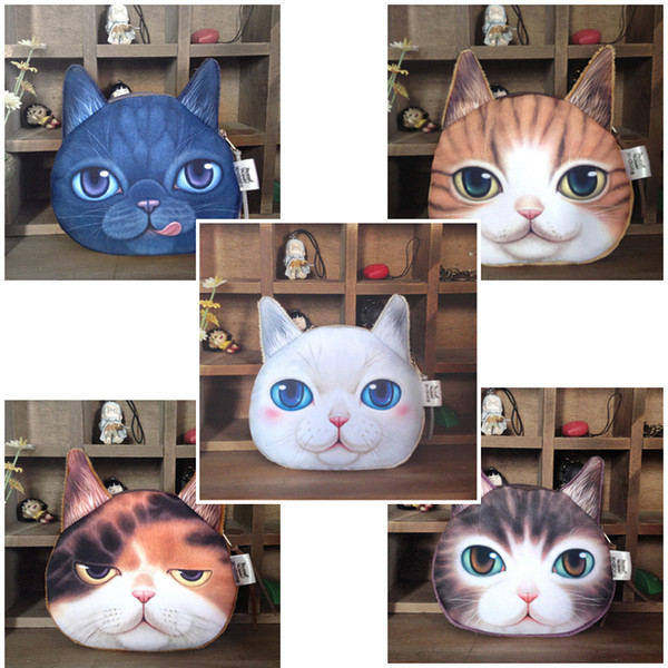 Cartoon Animals Plush Coin Bag Cat Head Face Printing 5 Style Coin Bag High Quality 3D Personal Gifts Kids Wallet Coin Purses