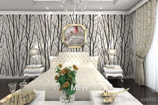1 lot=10M roll black and white wallpaeper Tree Branches Wallpaper 3D Modern vinyl Wall Paper for Living Room TV Background Wall woods