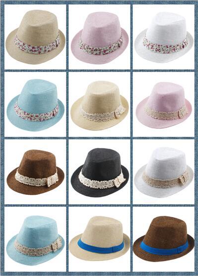 8% kapalı Çocuklar Saman Fedora Şapka Bebek Yaz Saman dantel Kırık güzel yan Şapka Erkek Kız Caz cap Straw Fedoras Bebek Strawhat Mix sipariş 10 adet