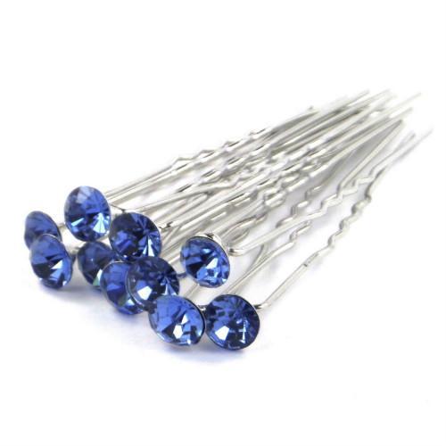 Wholesale - -Fashion Jewellery 20pcs WEDDING BRIDAL Light blue CRYSTAL HAIR PINS Hair Jewelry For Women