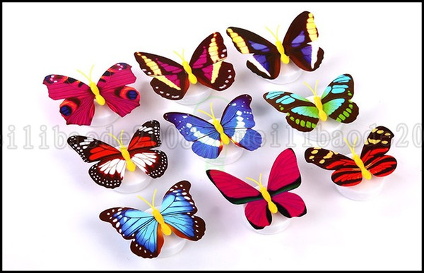 best selling Creativity Pasted Colorful Butterfly Night Light LED Energy-saving Decorative Baby Bedroom Bedside Lamp Lighting
