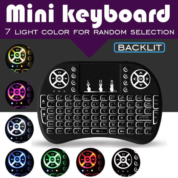 i8 7 colores retroiluminado mini teclado inalámbrico 2.4G Fly Air Mouse Control remoto Touchpad retroiluminación con batería recargable