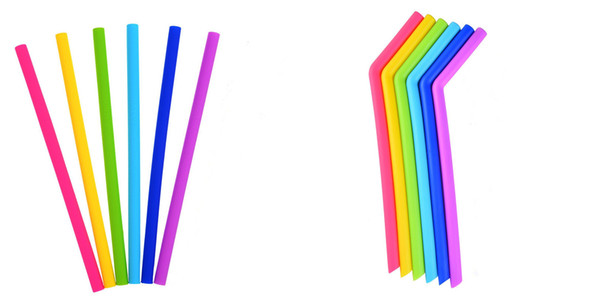 top popular DHL & SF_express Silicone Drinking Straws Straight bent silicone Straw for 30oz cup 6 color in stock 2021
