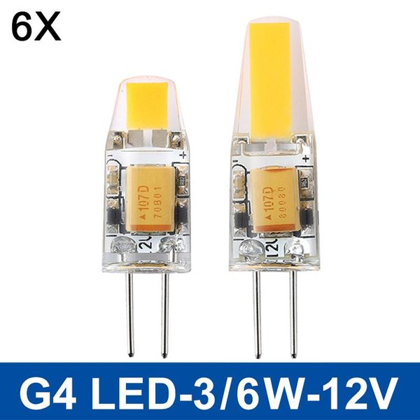 HOT G4 COB LED lumière 3W 6W CA / CC 12V Lampada LED G4 COB ampoule remplacer halogène Dimmable lustre en cristal s'allume G4 6pcs / lot