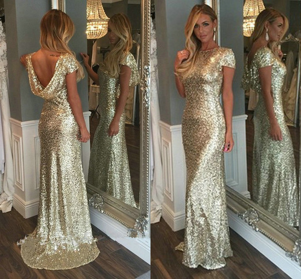 963a6c44934 Champagne Gold Sequins Long Bridesmaid Dresses 2016 Sparkly High Neck Short  Sleeve Backless Wedding Party Gowns Maid of Honor Dresses Junior