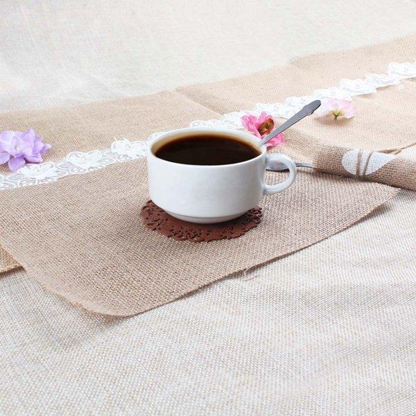 10pcs rustic burlap table mats hessian jute placemat coaster for kitchendining roomwedding - Kitchen Table Mats