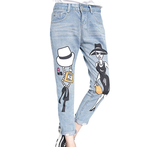Spring Fashion Women Jeans Boyfriend Style Stampa Ladies Pattern Casual Vintage tasche elasticizzate sbiancate
