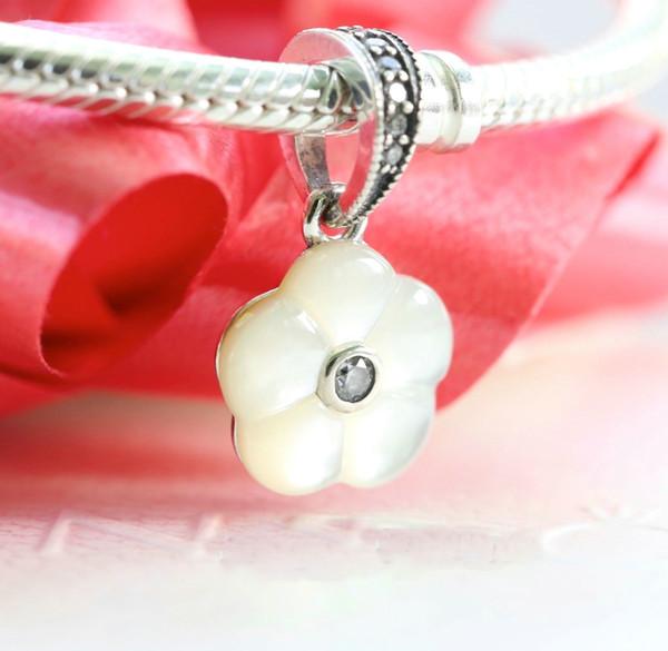 Pendenti di fascini del fiore bianco misura per i braccialetti di stile di Pandora che spedice liberamente 953H9
