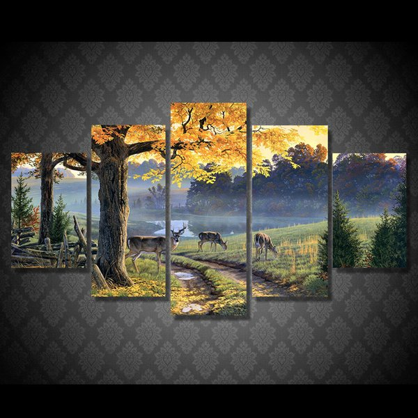 5 Pcs/Set Framed Printed Autumn lake animal deer Painting Canvas Print room decor print poster picture canvas Free shipping/ny-5973