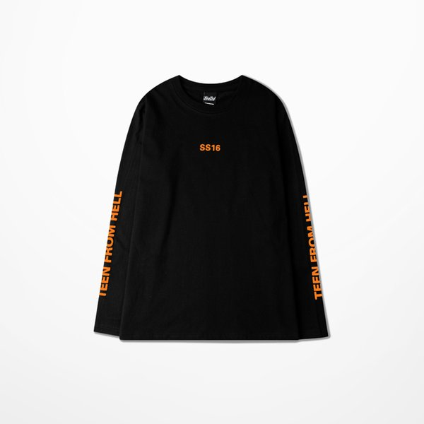 Autumn New Men T Shirt Long Sleeve TEAM FROM HELL T-shirt Orange Letter Print Design tshirt