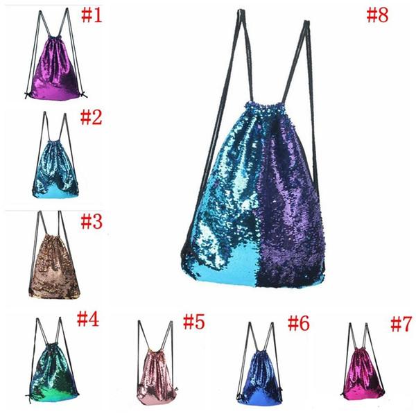 top popular 5pcs Mermaid Drawstring Bags Reversible Paillette Backpack Glitter Sports Shoulder Bags Travel Bag Mermaid Sequin Backpack Sequins Bag 2019