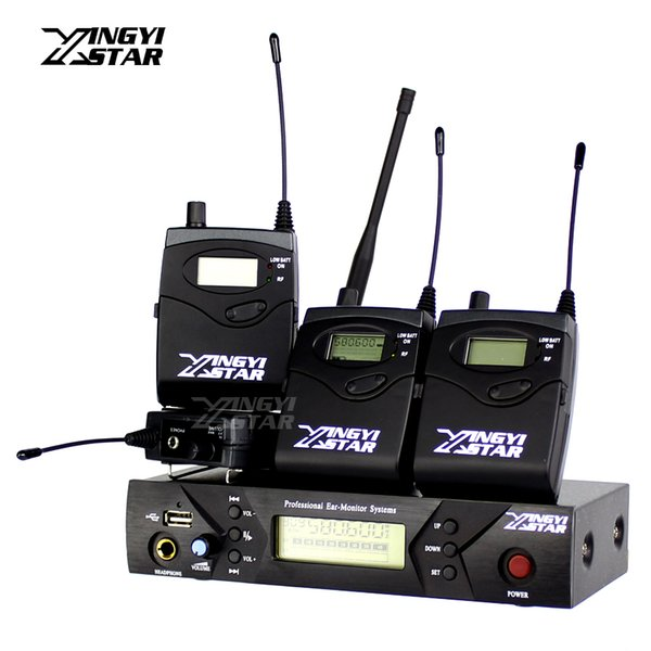 Professional Monitoring UHF Wireless In Ear Headphone Stage Monitor System Digital One USB Transmitter With Four Receiver Recording Studio