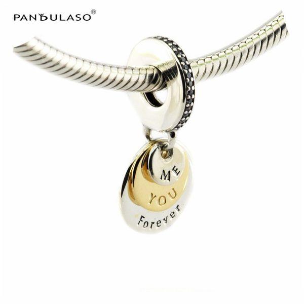 Acheter You Me Forever, Clear CZ Pendentif Argent Perles Convient Pandora Bracelet Pour Femme Perles DIY Femme Bijoux Pour Femme Cadeau Wholeasle De