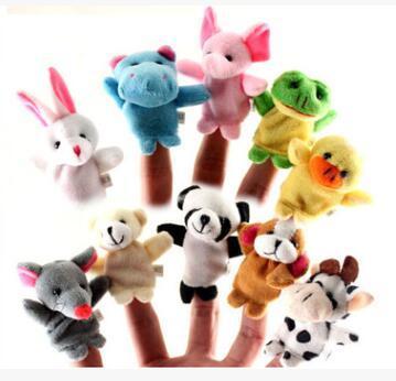 best selling 200pcs DHL Fedex EMS Animal Finger Puppets Kids Baby Cute Play Storytime Velvet Plush Toys (Assorted Animals)
