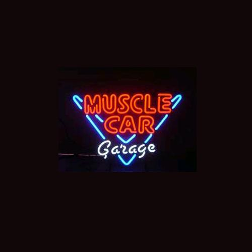MUSCLE CAR GARAGE Real Glass Neon Light Sign Home Beer Bar Pub Recreation Room Game Room Windows Garage Wall Sign