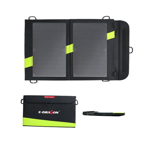 Panel solar 14W Cargador de panel solar USB para iPhone 5 6 7 iPad Air iPad Pro Samsung Galaxy Tabletas de teléfonos.