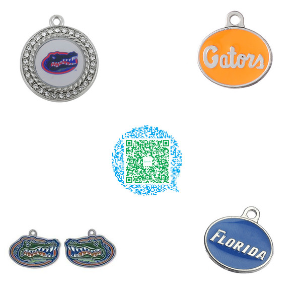 Wholesale-10pcs UF University of Florida Gators Clear Crystals Colored Enamel Logo Charms