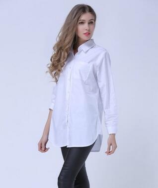Nuevas blusas para mujer de manga larga en la sección larga Camisas blancas sueltas de gran tamaño era finas Blusas Femininas