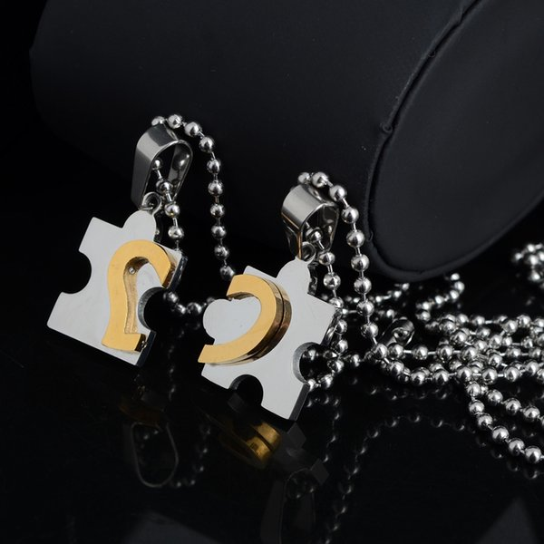 4 Pairs Brand New Stainless Steel Mens Womens Couple Necklace Pendant Love Heart Puzzle Matching Free Shipping[JN06236*4]
