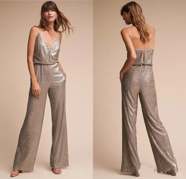 2018 New Design Wonderful Pant Suits Spaghetti Straps Neckline Sequined Full-length Bridesmaid Dresses With Pockets Cheap Prom Dresses