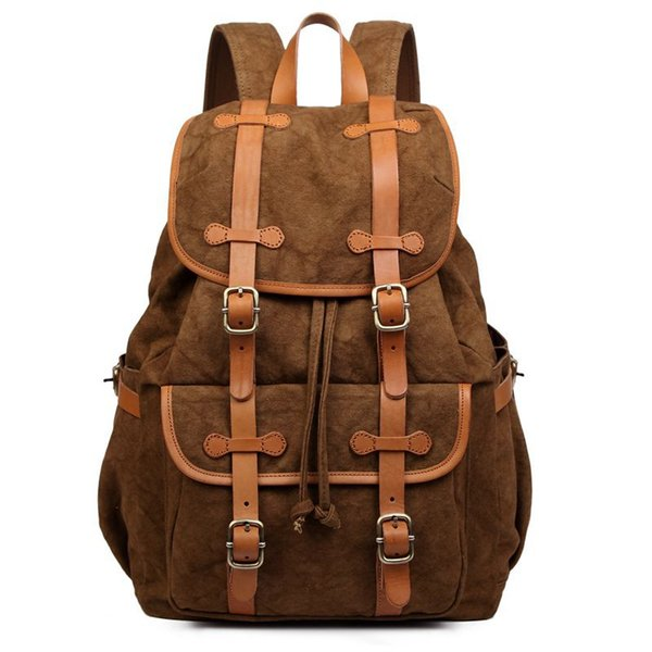 Best Selling Popular Korean Boy Girls Outdoors Backpack New Design Vintage Canvas Woman Bag 2016 in Coffee