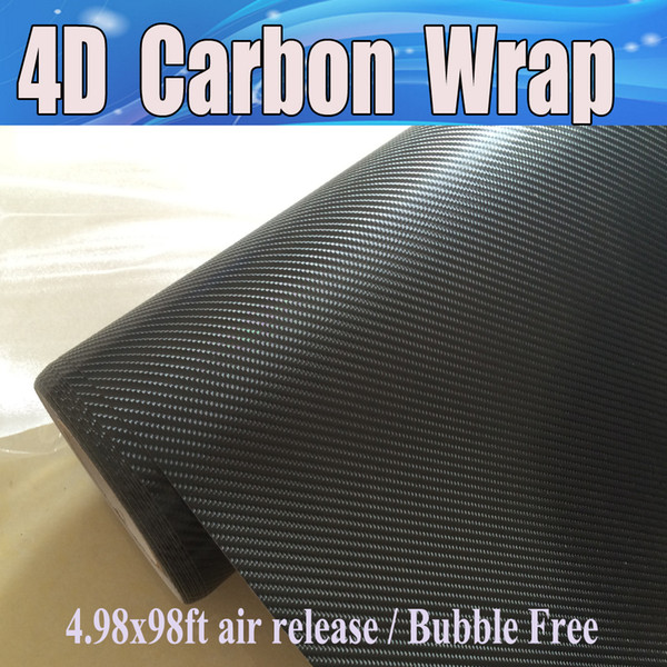 High Quality Black 4D Carbon Fibre Vinyl For Vechicel Wrap with Air Bubble Free Size 1.52X30M 4.98X98FT Free shipping