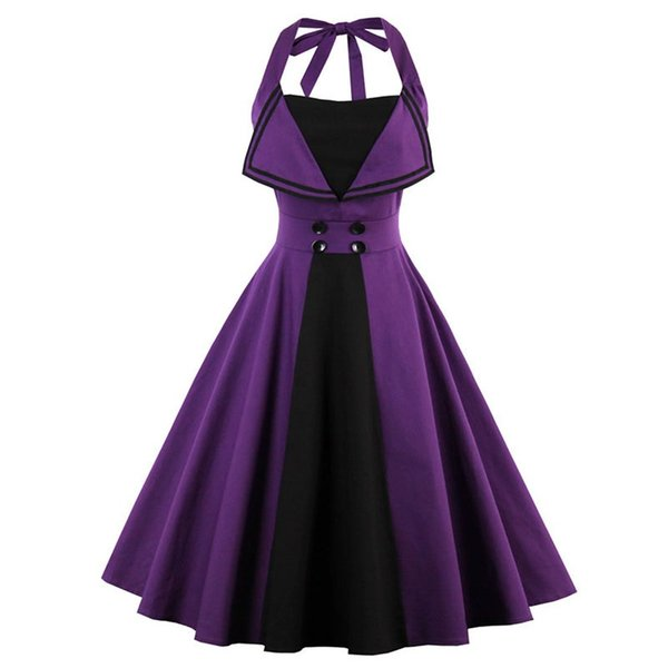 New Halter Neck Purple Robe Pin Up Tunic Dress Vintage A-Line Sleeveless Bow Knee-Length Midi Dress Women Summer Vestidos DK3055MX