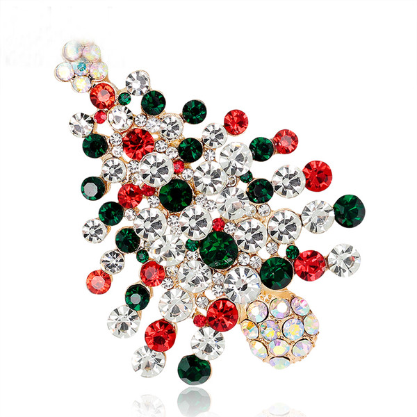 New Year Christmas Tree Brooch Pin Collar Clip Scarf Accessory Fashion Jewelry Full Rhinestones Brooches Gift for Women