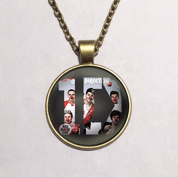 One Direction ID Fashion Statement Necklace For Women & Men Pendant Necklaces 2015 Casual Gift Link Chain Glass Cabochon Jewelry