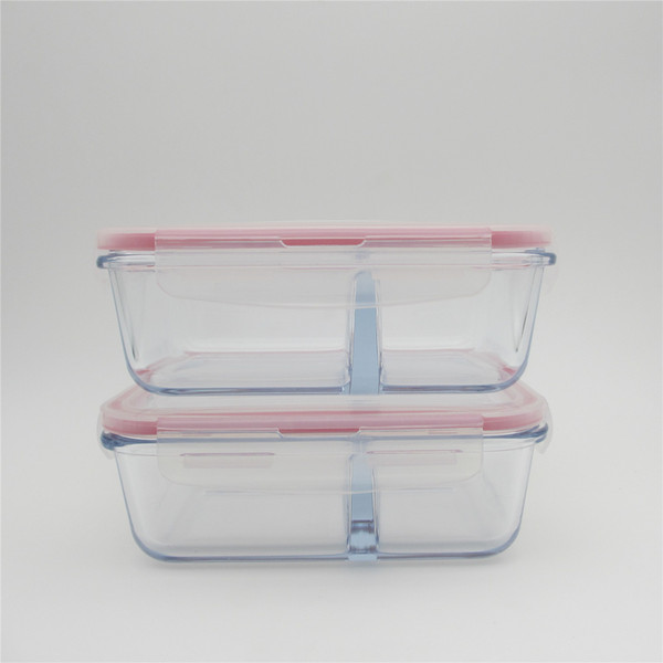 1 x 720ml heat resistant glass storage food container with divider microwave pyrex glass lunch boxes