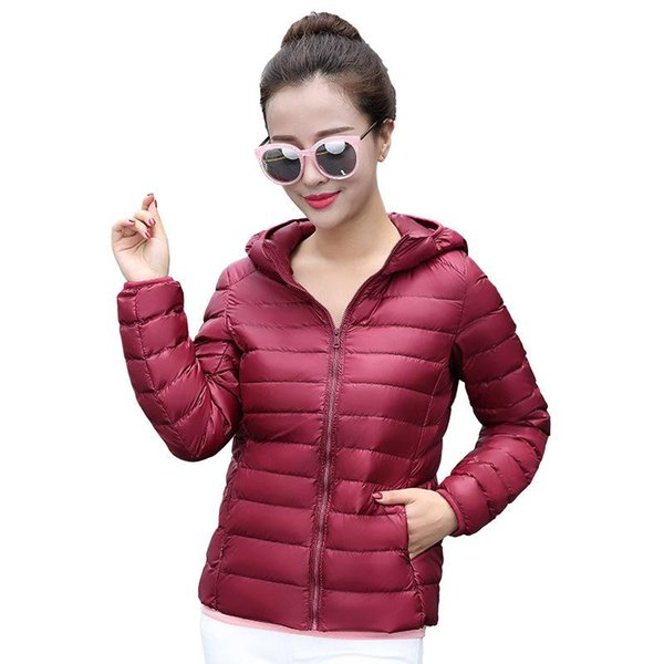 Women Down Coats 2017 Hooded 90% White Duck Jacket Autumn Winter New Warm Slim Zipper Fashion Light Down Coat Parkas Plus Size