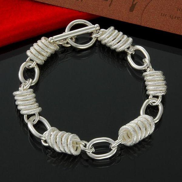"Women's Loose Link Chain Circle Interlocking 925 Sterling Silver Bracelet 8"""