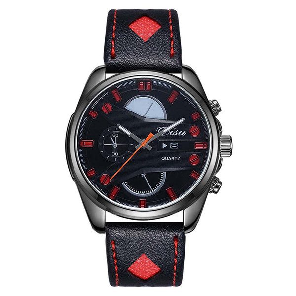 free shipping Korean style complex hollow mirror quartz watch ast selling men's Leather Strap Watch