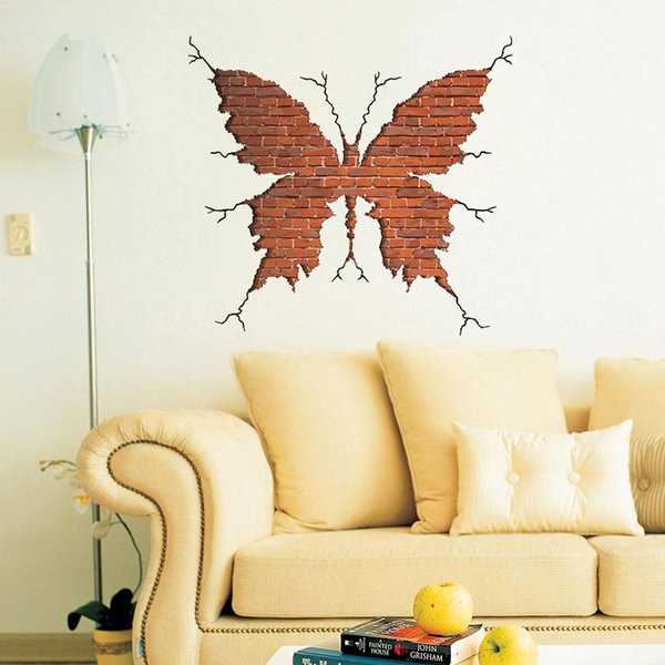 Fashion Hot Home Living Room Bedroom Decoration 3d Butterfly Brick ...