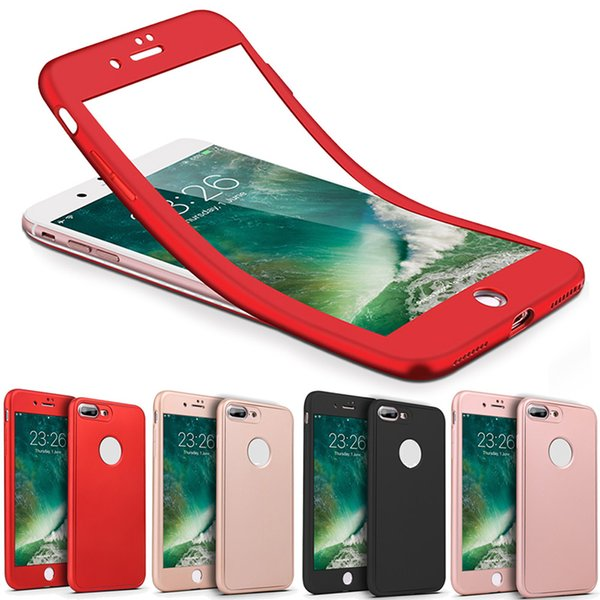 360 Degree Full Body Protection Hard PC Full Cover Body Cover Case For Iphone X 8 7 Plus 6S SE Samsung S8 Plus With Tempered Glass SCA314