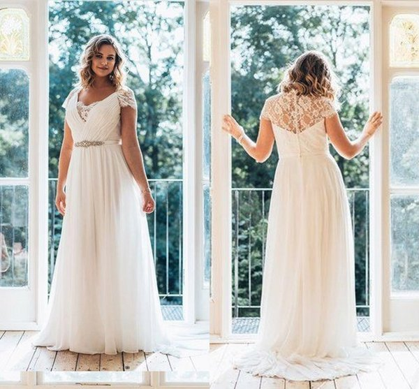 best selling 2019 Elegant Cheap Wedding Dresses Plus size V neck With Short Sleeves Applique Ribbon with Crystal Beaded Chiffon Hollow Back lace Gowns