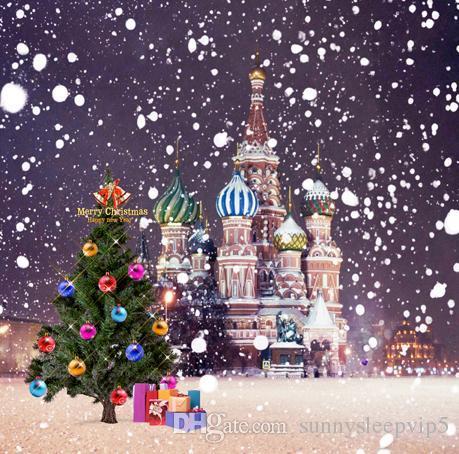 Christmas Tree Present Castle Vinyl 5x7ft Backgrounds Children Family Wedding Outdoor Photography Studio Decor Backdrops