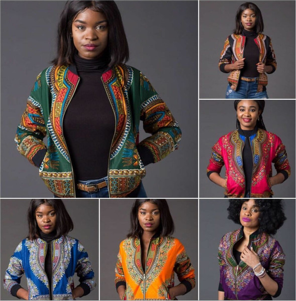 top popular African Print Bomber Jacket Women Fall Winter Long Sleeve Zip Up Coat Indie Folk Woman Slim Casual Vintage Coats Dashiki Baseball Jacket 2020