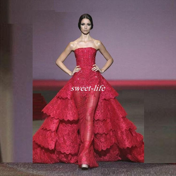 Ralph&Russo 2019 Long Ball Gown Evening Dresses Lace Ruffles Sequins Vestido De Noiva Strapless Over Skirt Celebrity Prom Gowns Formal Wear