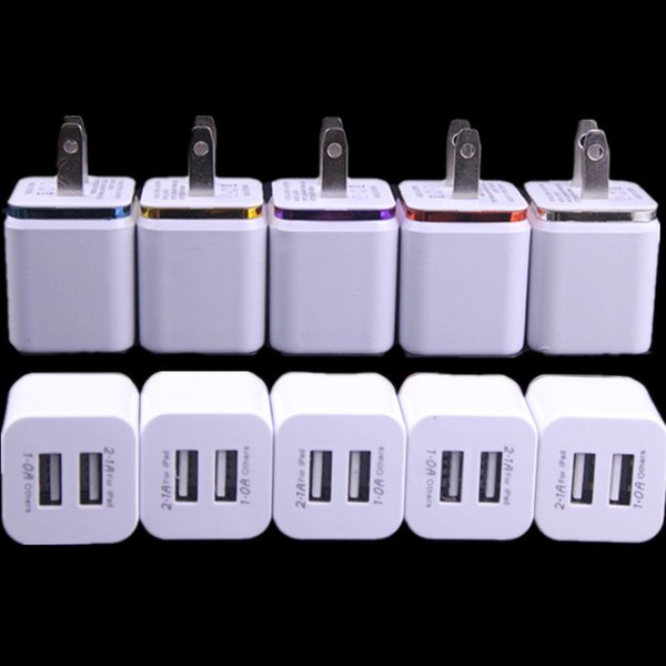 5V 2.1A&1.0A Double USB AC adapter home travel wall charger with dual ports EU US plug 5 colors cell phone chargers DHL Free Shipping