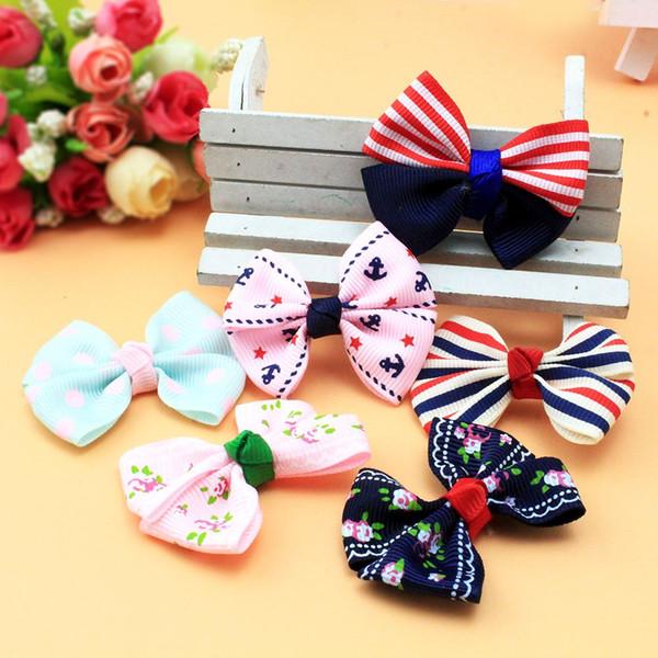 100pcs Pet accessories handmade cloth bowknot Korean Dog accessories wholesale pet hairpin mix color pet grooming